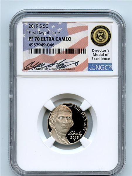 2019 S 5C Jefferson Nickel NGC PF70UCAM First Day of Issue FDOI Miles Standish