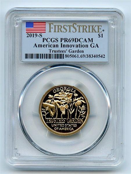 2019-S American Innovation Dollar GA Trustees/' PR70DCAM First Day of Issue PCGS